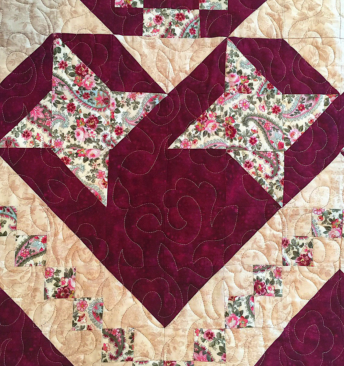 Maroon Traditional Quilt-Field of Flowers Pattern