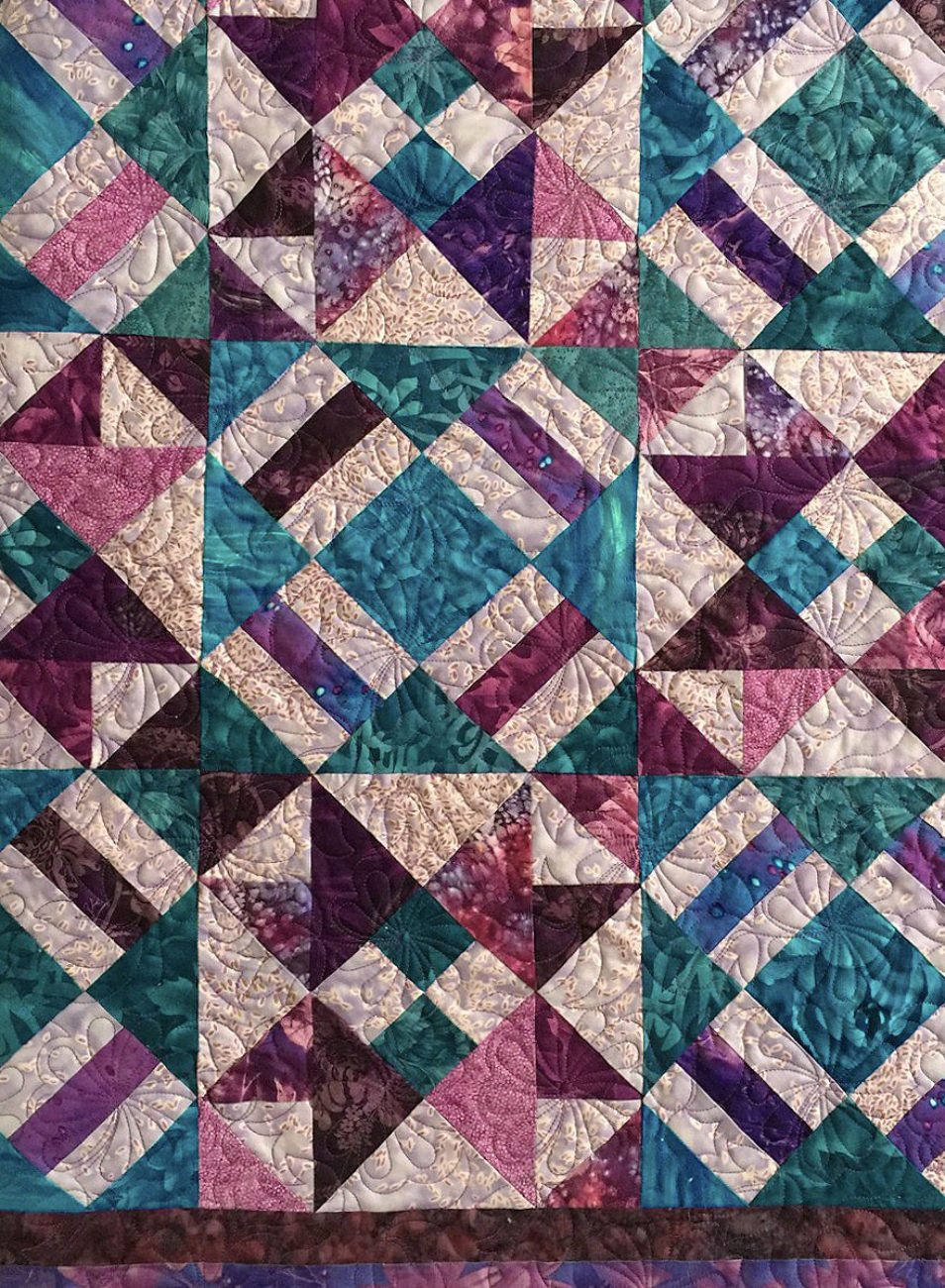 Purple Batik Quilt-Flower with Leaves Pattern
