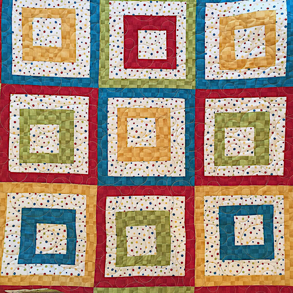 Square in Square with Circles Quilting Pattern