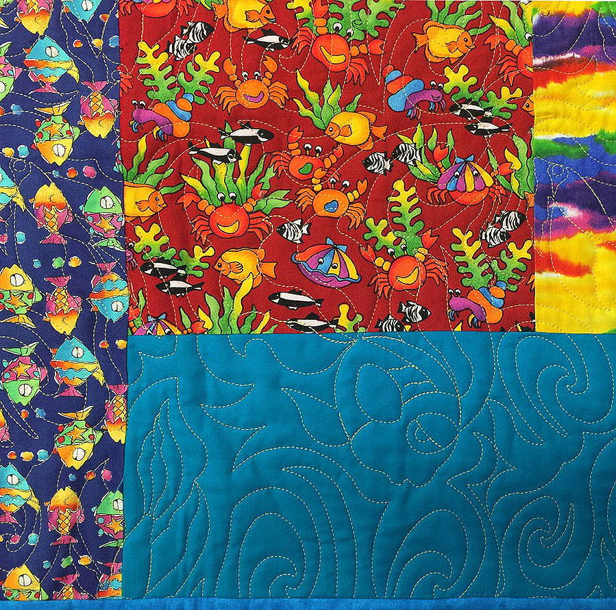 Crazy Quilt with Fish Quilting Pattern